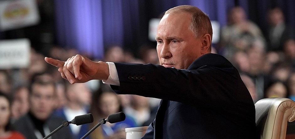 Владимир Путин на прямой линии с журналистами